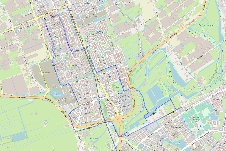 Routekaart 10 km Halve Marathon Oostland