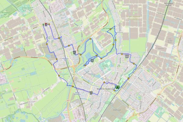 Routekaart 21,1 km Halve Marathon Oostland